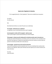 Letters For Scholarships Scholarship Letter Template 11 Free Sample Example Format