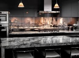 'Kohi Paradise' printed image on glass splashback modern-kitchen