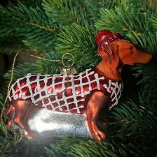 Teckel Teckel Chien Rouge Décorations Verre Basset Hot Dog Décorations De Noël Dog Ebay