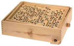 Wooden Maze Game With Ball Bearing Amazon Wooden Labyrinth Puzzle Toys Games 2