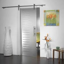 modern interior barn doors. Modern Interior Design With Manet Sliding Frosted Glass Barn Door, Brushed Nickel Hardware Finish, Doors D