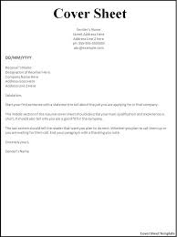 Example Of Fax Cover Letters Cover Sheet Template Word Templates