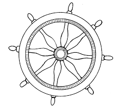 black and white ship steering wheel clipart