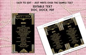 Ms Word Menu Templates Printable Menu Template Art Deco Great Gatsby Inspired
