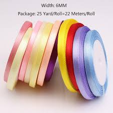 <b>25 Yards</b>/Roll <b>6mm</b> Ribbons Multicolor Solid <b>Color</b> Satin Ribbons ...