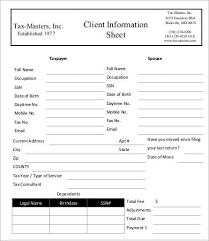 client information sheet template client information sheet template 9 free word pdf documents