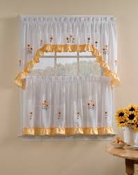 Yellow Gingham Kitchen Curtains Sunnyside 5 Piece Kitchen Curtain Tier Set Curtainworkscom