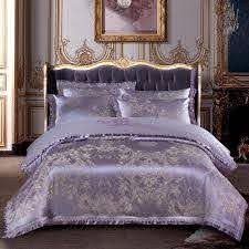 satin jacquard bedding set bed cover