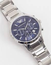 Серебристые наручные <b>часы</b> с синим циферблатом <b>Emporio</b> ...