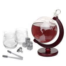 whiskey 1500 ml decanter set for liquor spirits or wine decanter world etched globe decanter