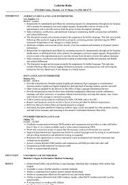 Medical Interpreter Resume Sign Language Interpreter Resume Samples Velvet Jobs 15
