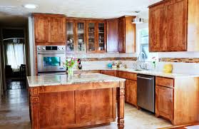 Rustic Color Of Cabinetry Also Island Using Grey Granite Countertop In Small  U Shaped Kitchen Layout ...