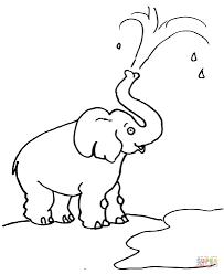 Disegno Di Elefante Sputa Acqua Con La Proboscide Da Colorare