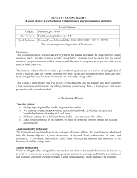 Health Lesson Plan HEALTHY EATING HABITS Lesson plan of a PDF Download Available 1