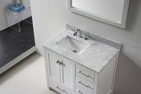transitional 36 inch white bathroom vanity white carrera marble top