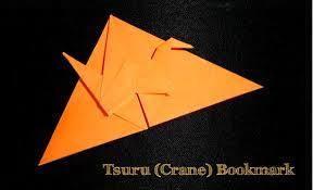 origami diagram of the bookmark with crane