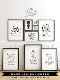 Printable bathroom wall art from The Crown Prints on Etsy - lots of funny  quotes and