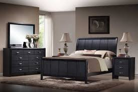 Bedrooms Modern Black Queen Bedroom Set With Bedside Tables With
