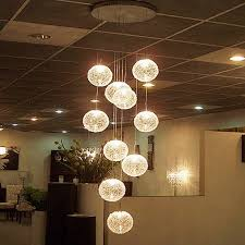 elegant modern large long stair round ball res chandeliers 10 lights for crystal globe chandelier