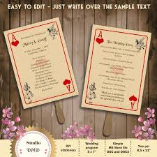 printable wedding program template alice in wonderland playing printable wedding program template alice in wonderland playing card instantly editable