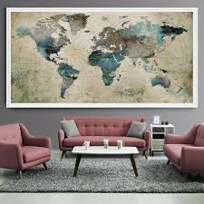 extra large wall art push pin world map art print large wall decor abstract painting  on extra large wall art teal with extra large wall art push pin world map art print large wall decor