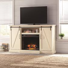 home decorators collection chastain 68 in tv stand electric fireplace with sliding barn door in