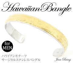 snless steel bangle for men hawaiian jewelry scroll plumeria motif yellow gold