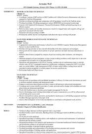 Rv Technician Resume Facilities Technician Resume Samples Velvet Jobs 10