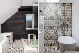 decorative tiles add character and depth to these modern bathrooms image source left mhouse inc image source right photography sean fennessy