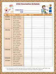 Printable Dog Vaccination Chart Printable Child Vaccination Schedule