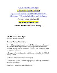 Edu 626 Week 6 Final Paper