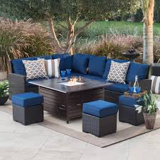 belham living monticello all weather wicker fire pit set with longmont square gas fire pit hayneedle