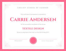 Certificate Of Excellence Template Word Awesome Pink Fashion Certificate Of Achievement Templates By Canva
