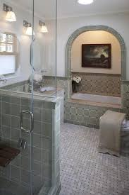 another great way to get the look is lots of tile we love how relaxing this soft grayish green tile makes the bathroom feel