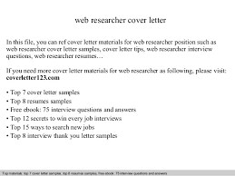 Sample Cover Letter For Job Resumes Web Researcher Cover Letter
