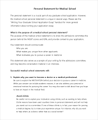 Examples Of Personal Statements Sample Personal Statement For Medical School 7 Examples In Pdf
