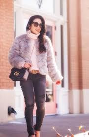 cute little dallas petite fashion blogger asos grey chevron faux fur coat