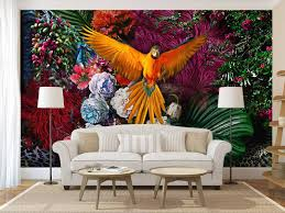 Colorful Parrot Among Flowers Collage ...