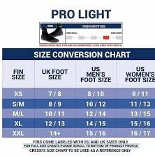 Cressi Pro Light Size Chart Cressi Pro Light Open Heel Diving Fin Yellow X Small