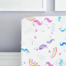 magical unicorn  organic cotton crib sheets – little navy