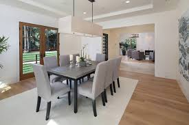 gray and white dining room rectangular chandelier