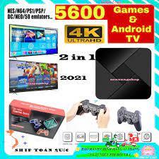 Máy chơi trò chơi video 4K -ULtraHD- Android TV- BOX 3D chơi game PS1,..  tích hợp 5600 Trò chơi với điều khiển không dây tại Hà Nội