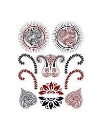 červenočerné Motivy Henna Nalepovací Tetování