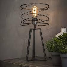 Tafellamp Curl Cm Doorsnee Zwart Bruin Metaal Wonen Metalen Lamp