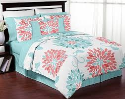 Turquoise And Coral Emma 40pc Girls Teen Full Queen Bedding Set Adorable Teens Bedroom Designs Set Collection