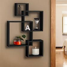 intersecting wall mount shelves for