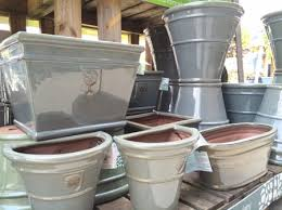 large glazed pots