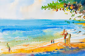 painting colorful of beach and family in emotion cloud backgrou stock ilration ilration of