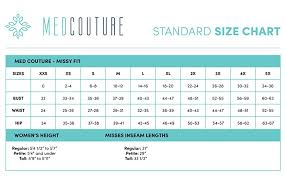 Scrub Top Size Chart Med Couture Womens Signature Drawstring Scrub Pant