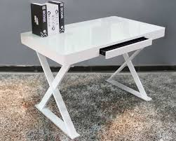 tempered glass office desk. Furniture NAN WK 017 GG White Tempered Glass Desk With 3 Drawer Elegant For 14 Office